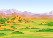 Ландшафт анимации красочный, руины древнего города на предпосылке гор иллюстрация штока