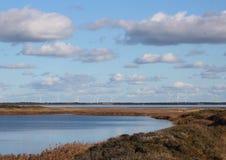 Ландшафт датского фьорда с ветрянками в горизонте Стоковое фото RF