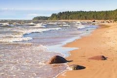 Ландшафт Балтийского моря прибрежный с водой берега Стоковые Изображения RF