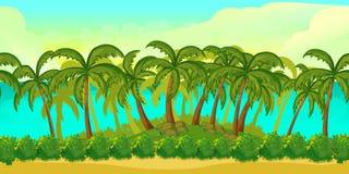 Ландшафт безшовного шаржа тропический, бесконечная предпосылка для игры Стоковое Фото