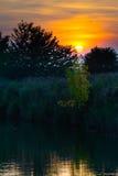 Ландшафт берега озера на осени Стоковое фото RF