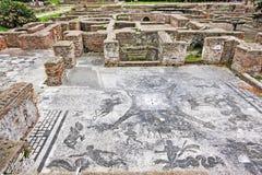 Ландшафт ванны римской империи Cisiarii термальный в Ostia Antica Стоковая Фотография RF