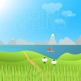 Ландшафт вектора весны Стоковое Изображение
