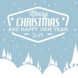Ландшафт вектора ретро снежный как рождественская открытка Стоковое Изображение RF