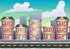 Ландшафт вектора шаржа городской с отделенными слоями Стоковые Фото