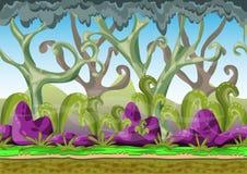 Ландшафт вектора шаржа с отделенными слоями для игры и анимации Стоковые Изображения RF