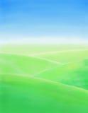 Ландшафт весны акварели нарисованный рукой Стоковое Изображение