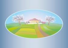 Ландшафт весны с зацветая деревьями Стоковые Изображения RF