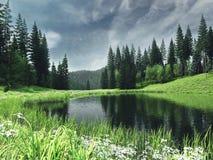 Ландшафт весны с рекой иллюстрация вектора