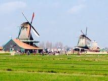 Ландшафт ветрянок в Шанях zaanse нидерландских Стоковые Фотографии RF