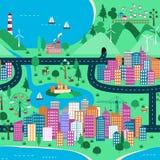 Ландшафт взгляд сверху с городом и природой Стоковые Фото