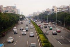 Ландшафт движения раздела Baoan государственной автострады Шэньчжэня 107 Стоковая Фотография RF