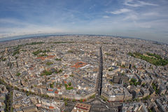 Ландшафт вида на город здания Парижа воздушный от башни Стоковое Фото
