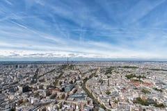 Ландшафт вида на город здания Парижа воздушный от башни Стоковая Фотография