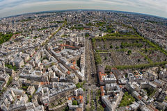 Ландшафт вида на город здания Парижа воздушный от montparnasse Стоковое фото RF
