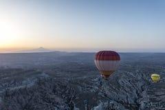 Ландшафт воздушного шара Турции горячий принятый в Cappadocia Стоковое Фото