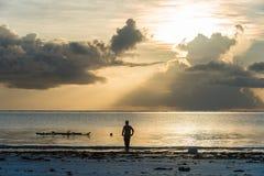 Ландшафт восхода солнца в острове Занзибара стоковое фото rf
