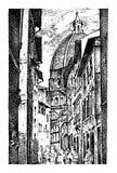 Ландшафт в европейском городке Флоренсе в Италии выгравированная рука нарисованная в старом эскизе и винтажном стиле историческо иллюстрация вектора