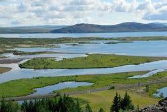 Ландшафт в национальном парке Thingvellir в Исландии стоковые фото
