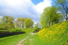 Ландшафт в парке в крепости Lappeenranta, Стоковые Фотографии RF