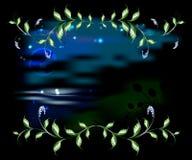 Ландшафт в рамке ветвей с листьями иллюстрация графика феиэрверков eps10 предпосылки черная Стоковое Изображение