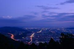Ландшафт в сумерк на зоне Seisho, Kanagawa, Японии Стоковое Изображение RF