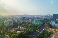 Ландшафт в утре, Мьянма Янгона стоковое изображение