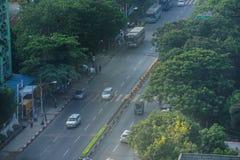 Ландшафт в утре, Мьянма Янгона стоковые изображения rf