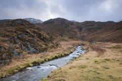 Ландшафт гористой местности над Kinloch Hourn в лесе Glenquoich стоковые изображения rf