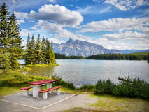 Ландшафт горной цепи, скалистые горы, Канада стоковые фотографии rf
