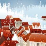 Ландшафт города зимы Стоковое Изображение RF