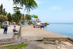 Ландшафт города панорамный с морским портом Батуми на курорте Чёрного моря лета Стоковое Изображение RF