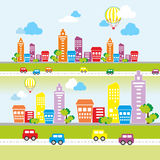 Ландшафт города с покрашенными домами Стоковая Фотография