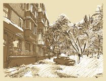 Ландшафт городка зимы Стоковые Фотографии RF