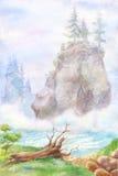Ландшафт горы в акварели Картина с туманом реки, корнем Стоковое Изображение