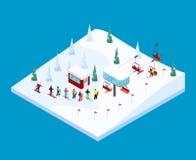 Ландшафт горы катания на лыжах равновеликий иллюстрация вектора