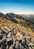 Ландшафт горы на солнечный день с утесами в переднем плане стоковые изображения rf