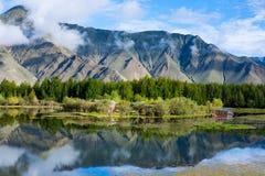 Ландшафт горы, озера и treeline под голубым небом, Тибетом. Стоковые Изображения RF