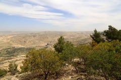 Ландшафт горы пустыни (вид с воздуха), Джордан, Ближний Восток Стоковое Фото