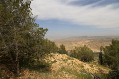 Ландшафт горы пустыни (вид с воздуха), Джордан, Ближний Восток Стоковые Фотографии RF
