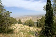 Ландшафт горы пустыни (вид с воздуха), Джордан, Ближний Восток Стоковые Изображения RF