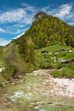 Ландшафт горы с домами Стоковое Изображение RF