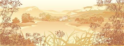 Ландшафт горы с дорогой и домом Стоковое фото RF
