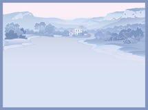 Ландшафт горы с дорогой и домом Стоковое Изображение
