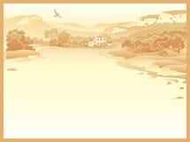 Ландшафт горы с дорогой и домом Стоковые Фото