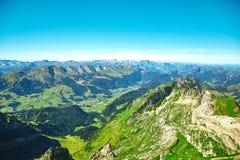 Ландшафт горы Saentis, швейцарец Альпы Стоковые Фото