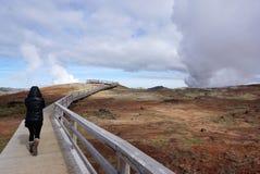 Ландшафт горячего источника Gunnuhver Стоковая Фотография RF
