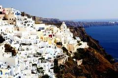 Ландшафт. Голубые и белые здания Santorini Стоковая Фотография