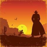 Ландшафт Диких Западов американский Плакат вектора западный иллюстрация вектора