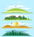 Ландшафт леса вектора плоский Стоковые Фото